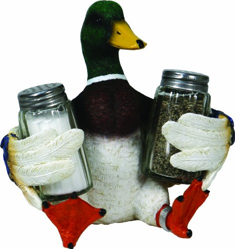 River's Edge Products Beautiful Hand Painted Poly Resin Salt and Pepper Shaker Set (Duck) - Hand Painted Salt Pepper Shakers