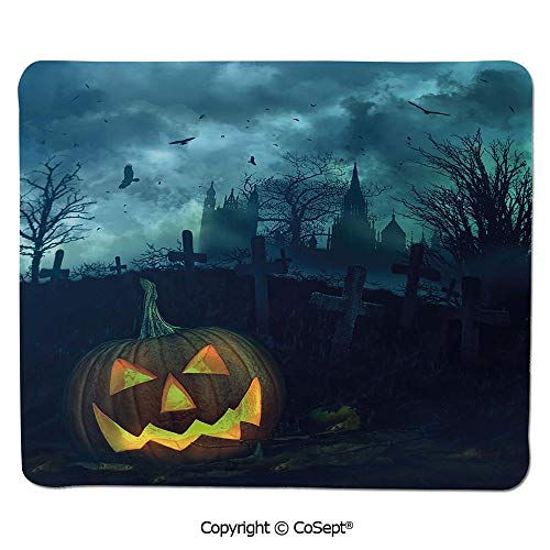 Mouse Pad,Halloween Pumpkin in Spooky Graveyard Eerie Gloomy Stormy Atmosphere,for Computer,Laptop,Home,Office & Travel(15.74