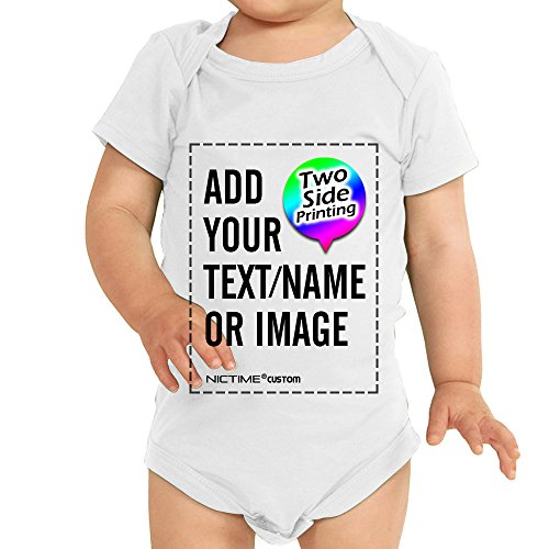Custom Baby Shirt White Onesie - Design Your Own Add Picture or Text Print (Girl Custom Made Baby Onesie)