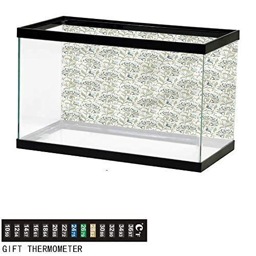 bybyhome Fish Tank Backdrop Green,Pastel Floral Ornaments,Aquarium Background,48