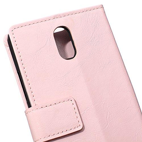 Lusee PU Caso de cuero sintético Funda para Microsoft Nokia 2 4.5 Pulgada Cubierta con funda de silicona negro caballo Loco patrón Rosa