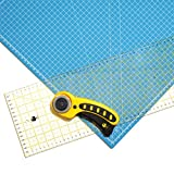 OfficeTree Set cutting mat - 45x30 cm (A3) blue + rotary cutter + ruler 60x16 cm - premium quality - for professional cutting -