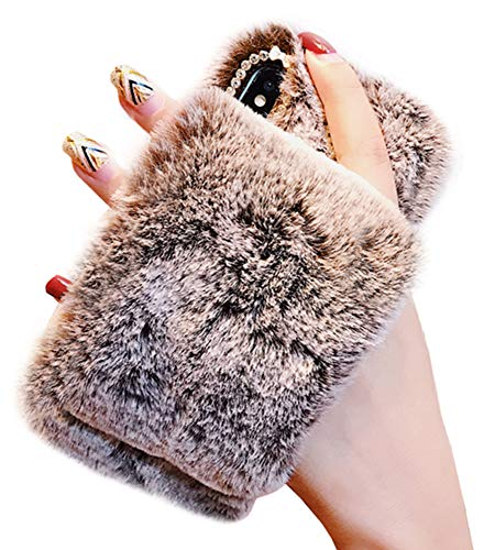 (UnnFiko Plush Case Compatible with iPhone X/iPhone Xs, Fashion Diamond Bling Cute Fuzzy Furry Fluffy Rabbit Fur Soft TPU Back Case with Warm Hand Strap (Brown, iPhone X/Xs))