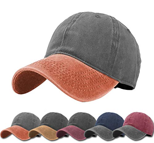 Unisex Vintage Washed Distressed Baseball-Cap Twill Adjustable Dad-Hat (C16-black+orange)
