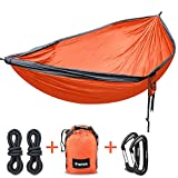 Double Camping Hammock, Fnova Outdoor Hammock with 210T Parachute Fabric, Supports up 660 lbs, 2 Suspend Ropes and Carabiners Bonus for backpacking, t