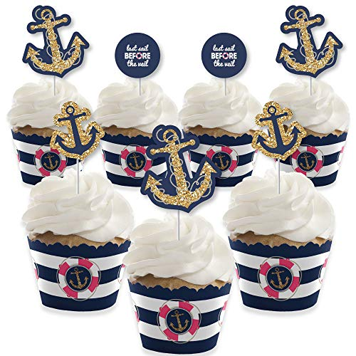 Last Sail Before The Veil - Cupcake Decoration - Nautical Bachelorette and Bridal Shower Cupcake Wrappers and Treat Picks Kit - Set of 24