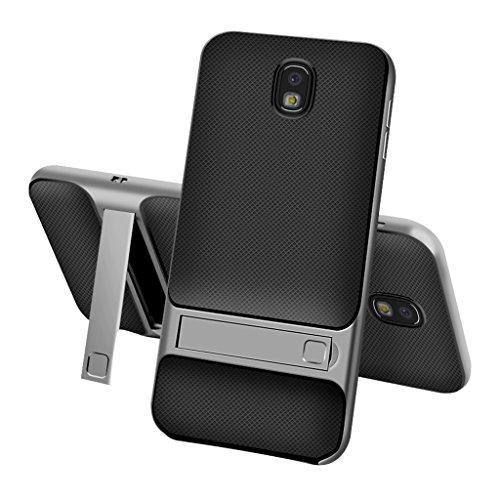 Samsung Galaxy Note 8 Espalda Funda - Ultra Delgado Capa Doble Híbrida Antideslizante Robusta a Prueba de Choques Protectora Cubierta[TPU Suave y PC Dura] con Kickstand para Samsung Galaxy Note 8 - Gr Gris