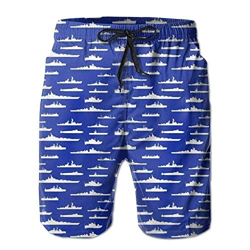 ZOMOY Us Navy White Fleet at Sea Men's Beach Shorts with Pockets Quick Dry Summer Shorts Swim ()