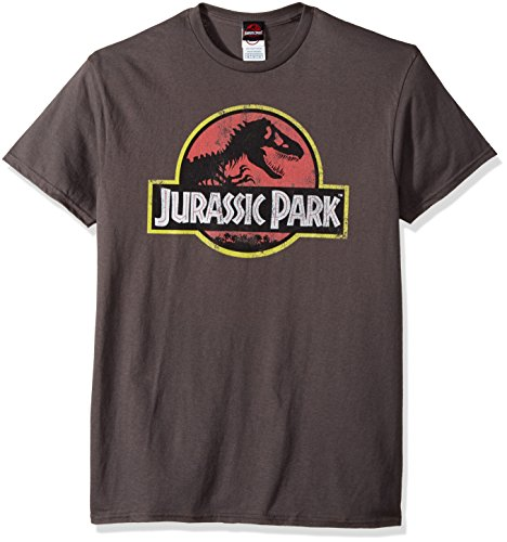 Jurassic Park Men's Movie Logo T-Shirt, Charcoal, Large ()