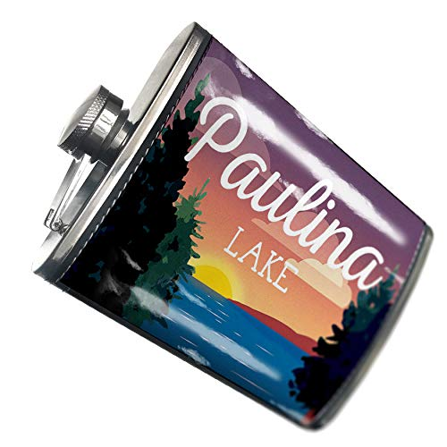 NEONBLOND Flask Lake retro design Paulina Lake Hip Flask PU Leather Stainless Steel Wrapped