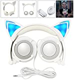 Headphone Cat Ear Headset, Foldable LED Light Cosplay Flash Earphone for Teens Girls Boys,Compatible for iPad,Tablet,Computer,iPhone,Android Mobile Phone (grey) Review