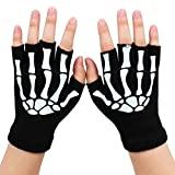 Simplicity Unisex Half Finger Skeleton Pattern Glow in the Dark Knit Gloves