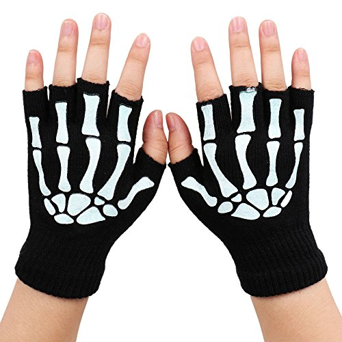Simplicity Unisex Half Finger Skeleton Pattern Glow in the Dark Knit Gloves -