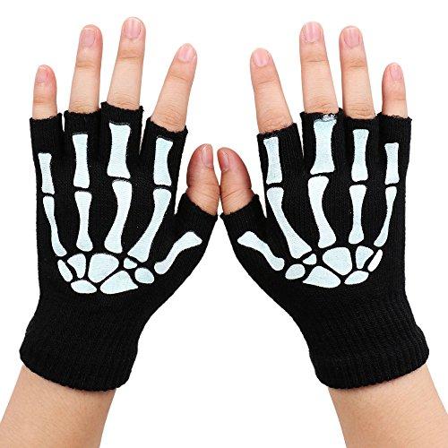 Unisex Skeleton Black Durable Warm Fingerless/Regular Gloves