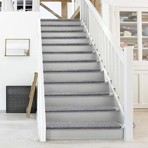 """PURE ERA Carpet Stair Treads Set of 14 Non Slip Self Adhesive Bullnose Indoor Stair Protectors Pet Friendly Rugs Covers Mats Skid Resistant Tape Free Washable Soft Solid Dark Grey 9.5"""" x 30""""x1.2"""""""