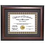 CreativePF [7L9R-11x14mh-b] Mahogany Diploma Frame with 11x14-inch Black Mat to Hold 8.5 by 11-inch Graduation Documents w/ Stand and Wall Hanger