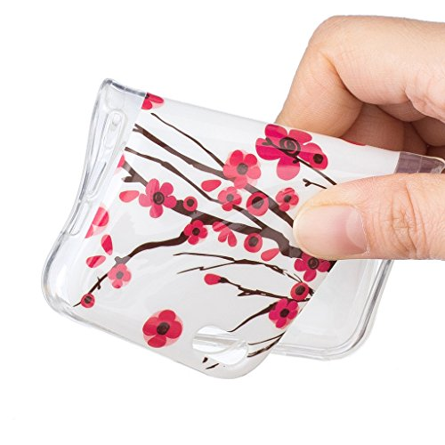 Hülle iPhone 5C, IJIA Ultra Dünnen Transparent Leuchtende Nacht Rosen Rot Pflaume Blumen TPU Weich Silikon Handyhülle Schutzhülle Handyhüllen Schale Case Tasche für Apple iPhone 5C + 24K Gold Aufklebe