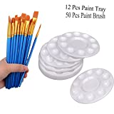 50 Pcs Paint Brush with 12 Pcs Paint Tray Pallet for Kids and Adults to Create Acrylic Oil Watercolor Painting