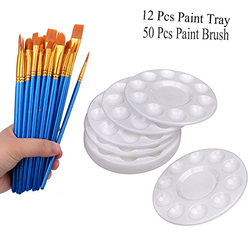 50 Pcs Paint Brush with 12 Pcs Paint Tray Pallet for Kids and Adults to Create Acrylic Oil Watercolor Painting by Hulameda
