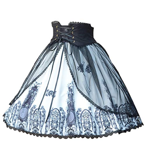 (Smiling Angel Women's Classic Gothic Lolita Band Waist Skirt Cross and Church Printed Vintage Style Skirt (L-XL) Blue)