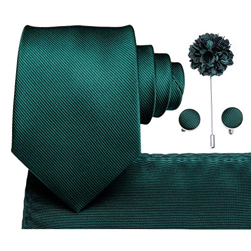 Dubulle Dark Green Lapel Pin Flower Boutonniere Tie and Hankie Cufflinks