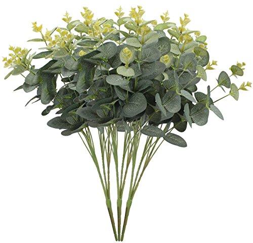 XIUER 3 Pcs Artificial Eucalyptus Leaf Greenery Artificial Plant Holiday Wedding Home Decoration Accessories (Silk Eucalyptus)