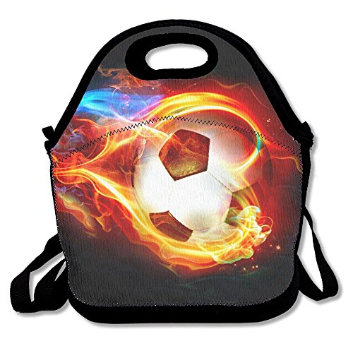 Cool Fire Flame Soccer Football Neoprene Lunch Bag Insulated Lunch Box Tote For Women Men Adult Kids Teens Boys Teenage Girls Toddlers (Black) by FSKDOM Lunchbox