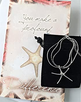 Smiling Wisdom Starfish Silver Necklace Gift Set - You Make a Profound Difference Card - Appreciation Thank You - Friend, Teacher, Volunteer, Caregiver, Coach, Mentor, Mother Mom - Upgraded 18K Chain