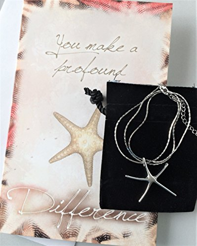 Smiling Wisdom Starfish Silver Necklace Gift Set - You Make a Profound Difference Story Card - Appreciation, Thanks, Thank You - Woman Friend, Teacher, Volunteer, Caregiver, Coach, Mentor - Silver