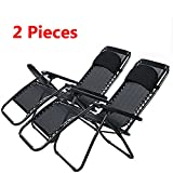 Zero Gravity Outdoor Lounge Chaise Chair (Sets of Two) with Pillow and Durable Mesh Fabric-300lbs Capacity, Black 2(US Stock)