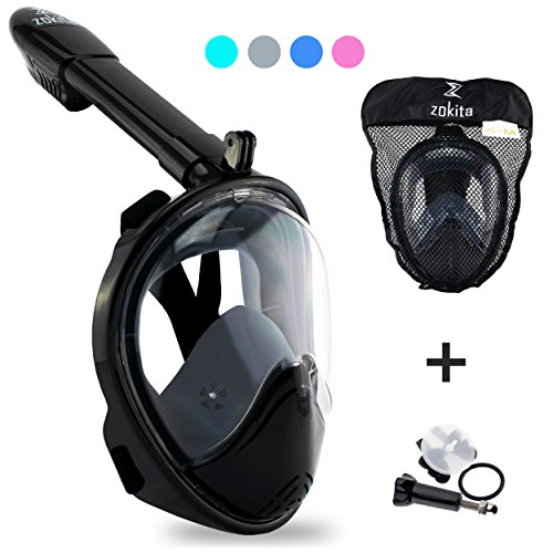 Piece Action One (Zokita Full Face Snorkel Mask Adult & Kids Action Cam Compatible Panoramic One Piece Snorkeling Swimming Anti Fog Mask Grey L/XL)