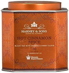 Harney & Sons Hot Cinnamon Spice Tea Tin - Black Tea with Orange & Sweet Clove - 2.67 Ounces, 30 Sachets