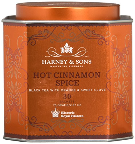 Harney & Sons Hot Cinnamon Spice Tea Tin - Black Tea with Orange & Sweet Clove - 2.67 Ounces, 30 Sachets ()