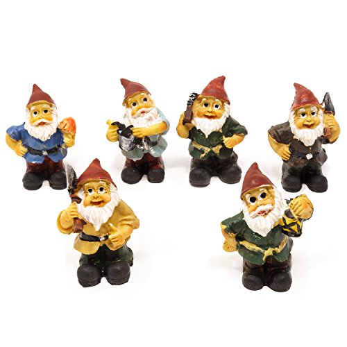 (Harbor 55 Miniature Fairy Garden Gnomes, Set of 6, Only 1.5 Inches Tall)