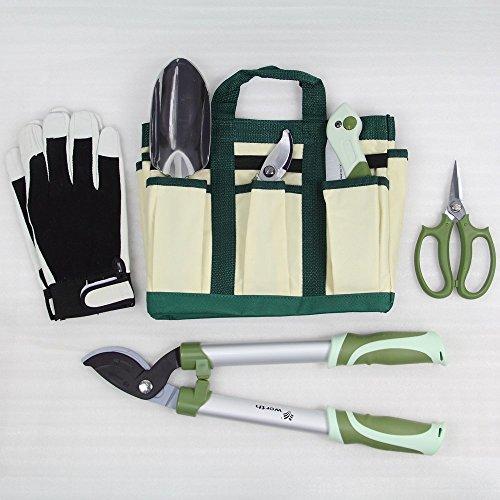 Worth 7 Pieces Ergonomic Garden Tool Set Plant Care Hand Tools Combination (Bag、trowel、lopper、pruner、scissors、folding saw、glove) by Worth (Image #1)