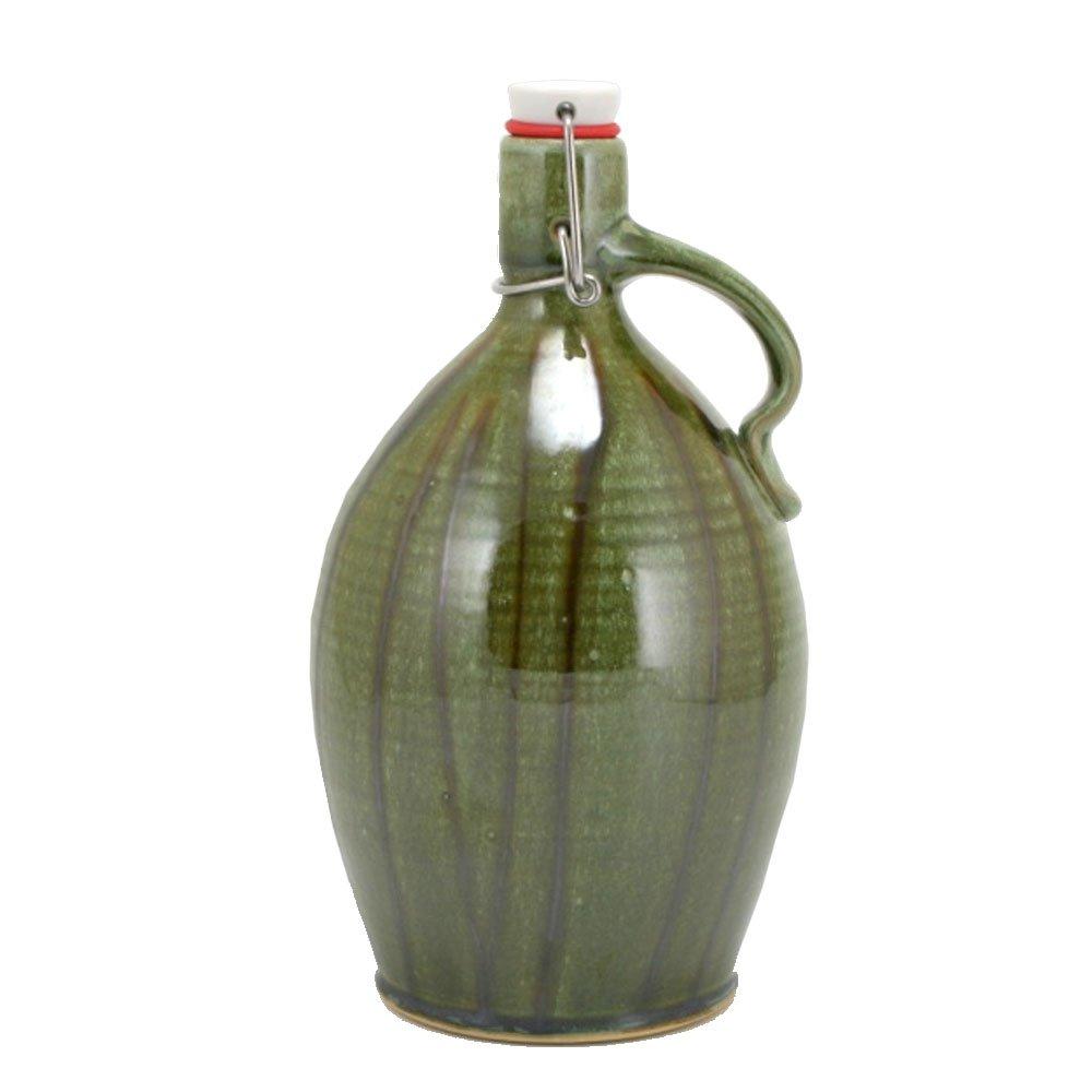 64oz Mellon Growler with Glaze trailing and Cascade Green Glaze