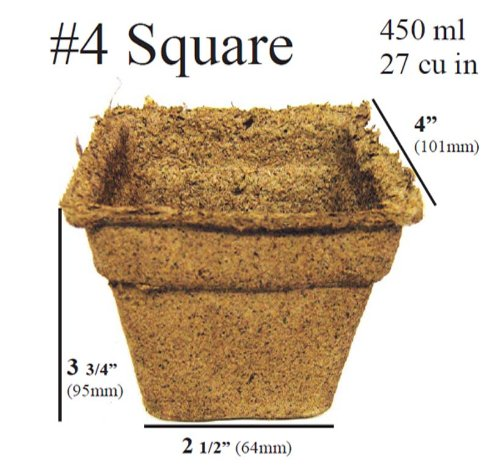 100 x (4 Inch Square) Eco-Friendly CowPots Cow Pots for Seeds Starting Transplants 100% Natural and Biodegradable - Develop Healthier Roots - Pots Adds Nutrients to Soil