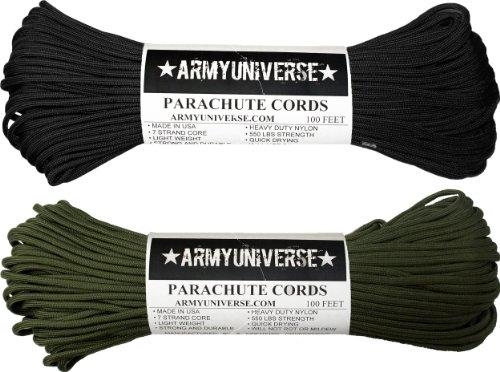 (Army Universe 2 Pack - Black & Olive Drab 550LB US Parachute Paracord Ropes)