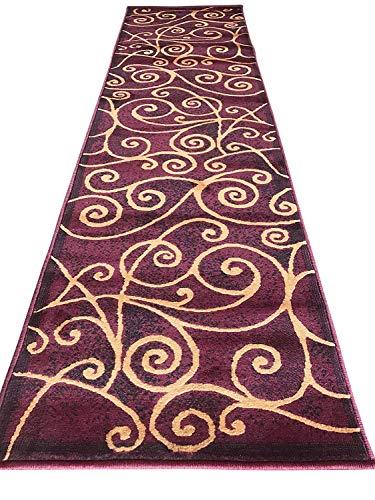 (Gallery Modern Abstract Swirl Rug Black Brown & Cream Design 23 (3 Feet 10 Inch X 5 Feet 2 Inch) (Burgundy, 2 Feet X 7 Feet 1 Inch))