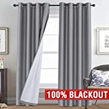 Cheap H.VERSAILTEX 100% Blackout Curtains for Sliding Glass Door Thermal Insulated Grey Curtains Extra Long 108 Inches Faux Silk Window Treatment Heavy-Duty Full Light Shading Drapes for Bedroom