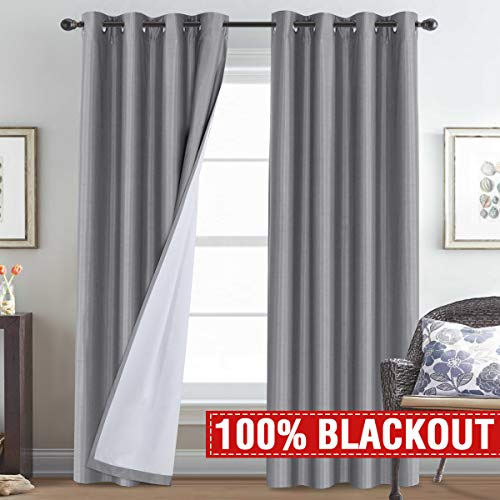 H.VERSAILTEX 100% Blackout Total Shade Curtains and Draperies for Kids Bedroom Thermal Insulated Soundproof Curtains 96 Long for Living Room Window Treatment Grey Faux Silk Drapes, 2 Panels Set