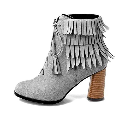 38 38 GRAY frange tacco smerigliato smerigliato rotonda e NSXZ Women pelle autunnali 's invernali pizzo 35 alti di stivali Aq6S6w