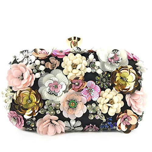 Lanpet Women Clutches Flower Evening Handbag Chain Strap Shoulder Bag (Black)