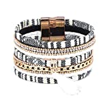 QiLuo Hand-knit wide bracelet Fashion mix material extra-wide diamond multi-layer tassel magnetic buckle bracelet