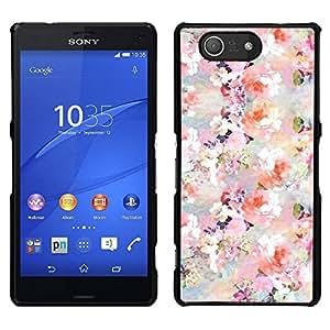 // PHONE CASE GIFT // Duro Estuche protector PC Cáscara Plástico Carcasa Funda Hard Protective Case for Sony Xperia Z3 Compact / Flowers Blossoms White Pink Wallpaper /