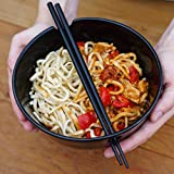Kenley Noodle Soup Bowl Set - Two 35 oz Large Bowls with Handles for Japanese Ramen Asian Noodles Udon Miso Pho Thai Curry - Bamboo Chopsticks & Ceramic Spoons - Microwave & Dishwasher Safe Porcelain