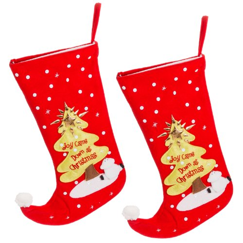 2-Pack Joy Came Down at Christmas Tree Holiday Felt Stockings Decoration Gift