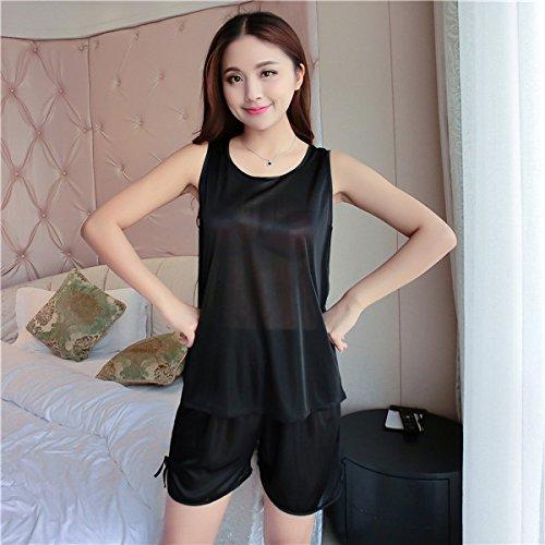 Amazon.com: Sproud New Summer Pajamas Set Women pijama Satin Silk Sleepwear pijama unicornio Female Home Top and Short Asian Size,Blue,S: Home & Kitchen