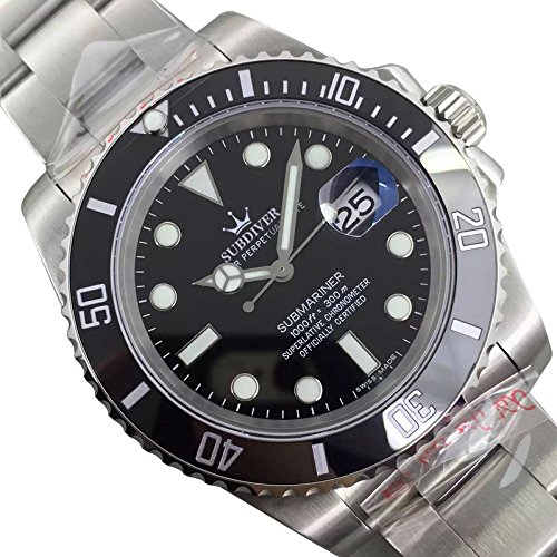 Luxury High End Swiss Made Submariner Men's Wrist Automatic Watch 40mm Ceramic rotatable Bezel Case Sapphire CRYSTAL Stainless Steel OYSTER BRACELET luminescent Display Black Dial