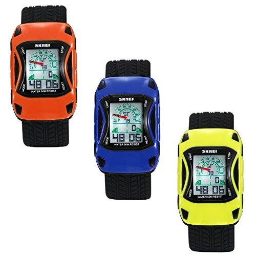 Lancardo Reloj de Niño Impermeable de 50M Dual Tiempo Diseño de Coche Deportivo Pulsera Digital Analógica con Luces Alarma...